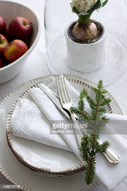 Table decorated for Christmas dinner