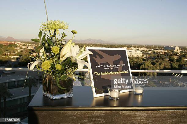 Table decorations during the 'Architecture of Aviation' cocktail reception presented by Architectural Digest and Breitling at the Hotel Valley Ho in...