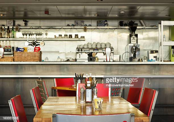 table, english diner with bar, indoor - diner stock pictures, royalty-free photos & images