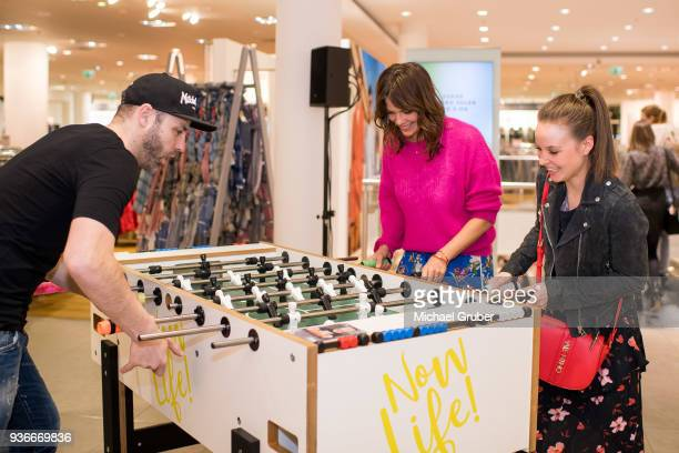 Table Football Worldchampion Chris Marks Acrtress Jessica Schwarz and Actress Sonja Gerhardt during the Launch POP event on the occasion of the 20th...