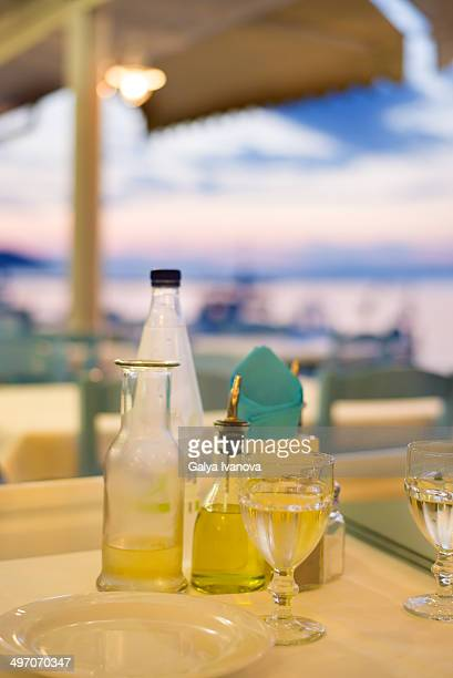 Table in a restaurant with white wine