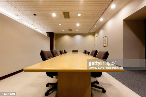 Table in empty conference room