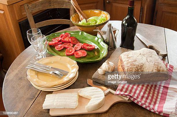 Table in french country kitchen