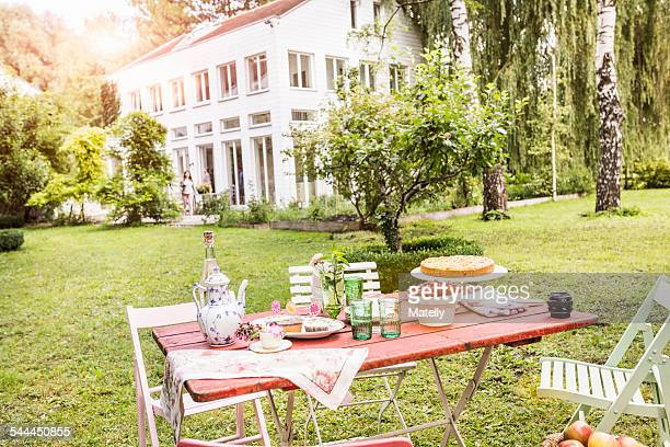 Table in garden with teapot, tea cups, cakes and refreshments