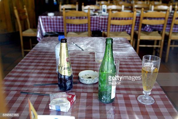 A table in La Porcella Carlton restaurant where Andrew Veniamin was shot dead another gangland murder Dominic Gatto was due at the Magistrates Court...