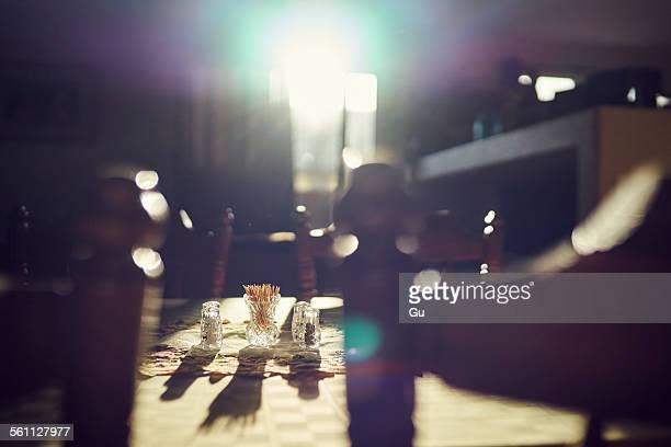 Table in sunlight, still life