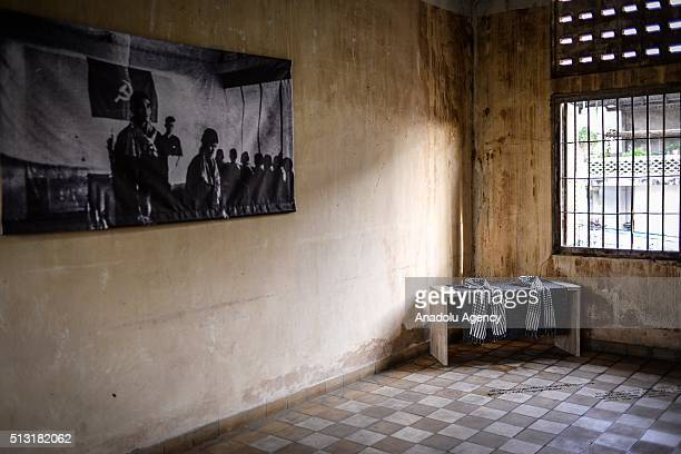 A table is displayed as part of an exhibition on the Khmer Rouge's practice of forced marriage in a room at the former S21 prison in Phnom Penh...