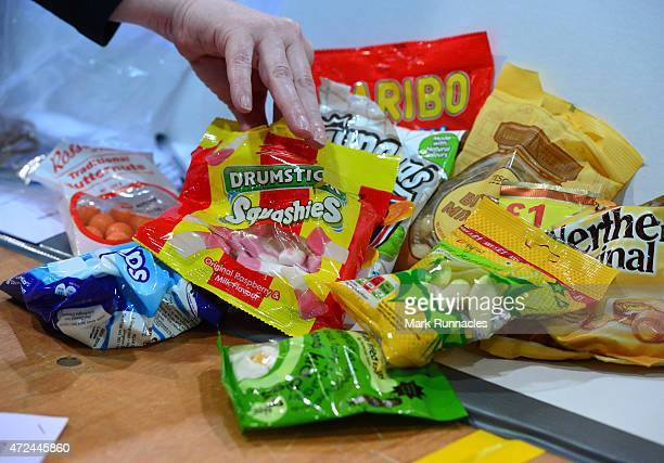 A table is laden with sweets as the early ballot boxes are counted at the Aberdeen Exhibition and Conference Centre on May 07 2015 in Aberdeen...