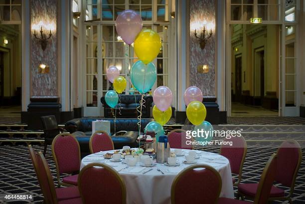 A table is laid for an afternoon tea birthday party in Liverpool's famous Adelphi Hotel on February 20 2015 in Liverpool United Kingdom As the United...
