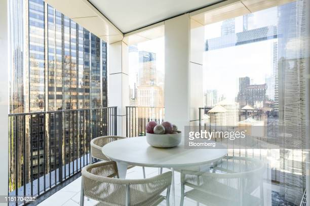 A table is seen on the balcony of an apartment unit in the AvalonBay Communities Inc Park Loggia condominium at 15 West 61 Street in New York US on...