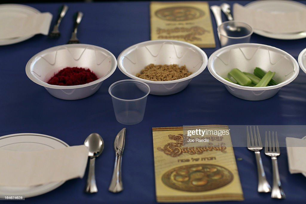 A table is set for a community Passover Seder at Beth Israel synagogue on March 25, 2013 in Miami Beach, Florida. The community Passover Seder that served around 150 people has been held for the past 30 years and is welcome to anyone in the community that wants to commemorate the emancipation of the Israelites from slavery in ancient Egypt.