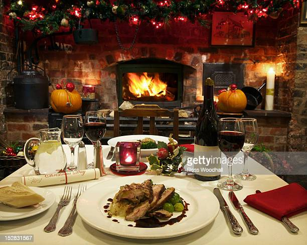 Table laid for Christmas dinner