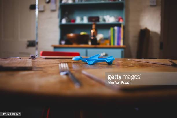 table laid in covid19 - differential focus stock pictures, royalty-free photos & images