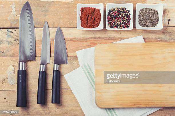 Table laid with ingredients and utensils