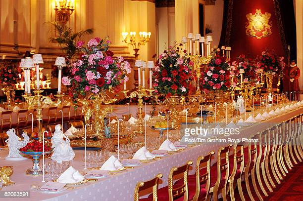 Table laid with the silver-gilt Grand Service and arranged for a State Banquet, part of the Summer Opening exhibition at Buckingham Palace, on July...