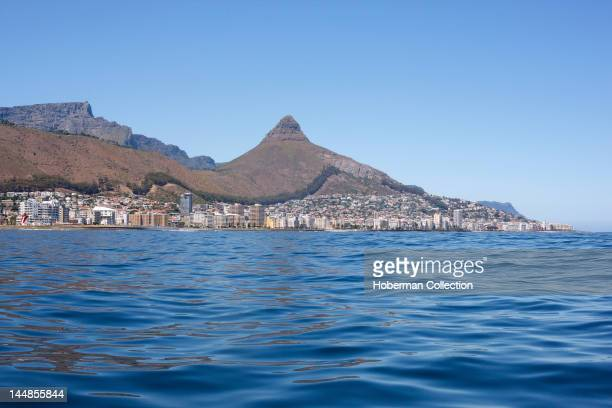 Table Mountain and Lion's Head with Greenpoint in front Cape Town South Africa