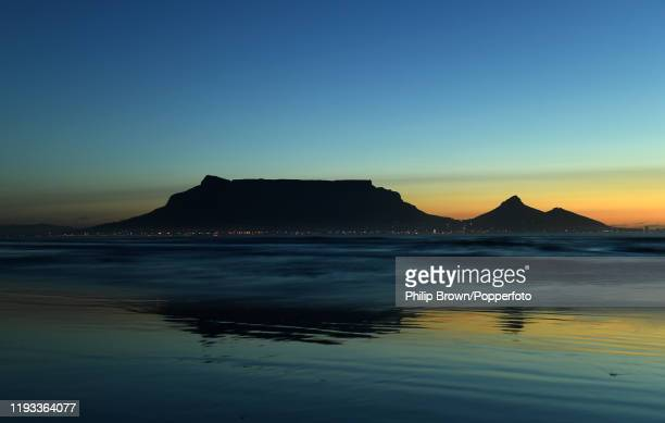 Table Mountain at sunset viewed across the sea from Sunset Beach near Isabella Drive 10th January 2020