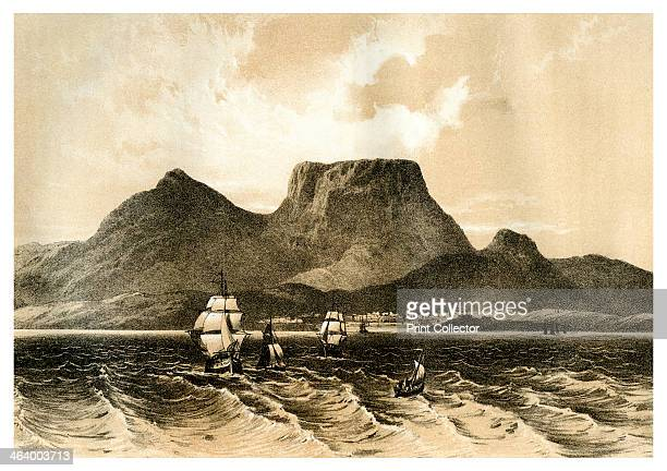 Table Mountain, Cape of Good Hope, South Africa, 1883. A print from The Life and explorations of David Livingstone, LL.D. Compiled from reliable...