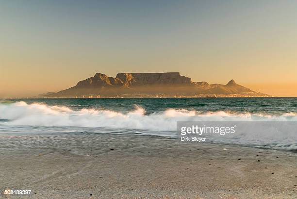 Table Mountain, Lion's Head and Devil's Peak in the evening light, panoramic views of Cape Town, Bloubergstrand beach, Table Bay, Atlantic Ocean, Cape Town, Western Cape, South Africa
