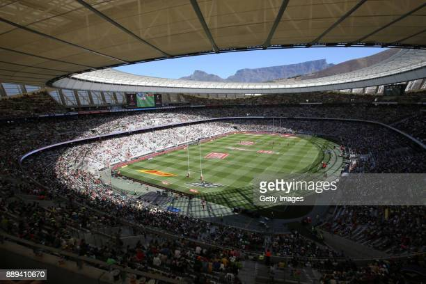 Table Mountain seen during day 2 of the 2017 HSBC Cape Town Sevens at Cape Town Stadium on December 10 2017 in Cape Town South Africa