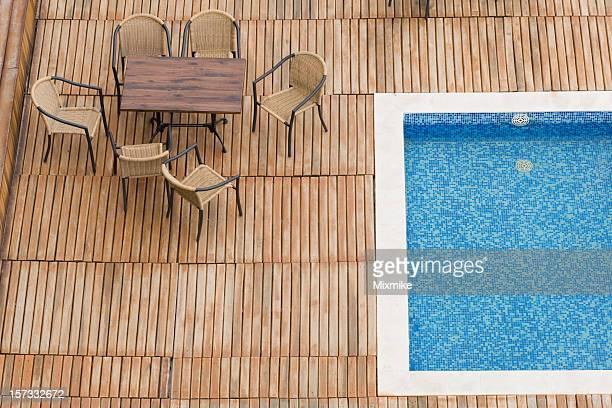 table near the pool