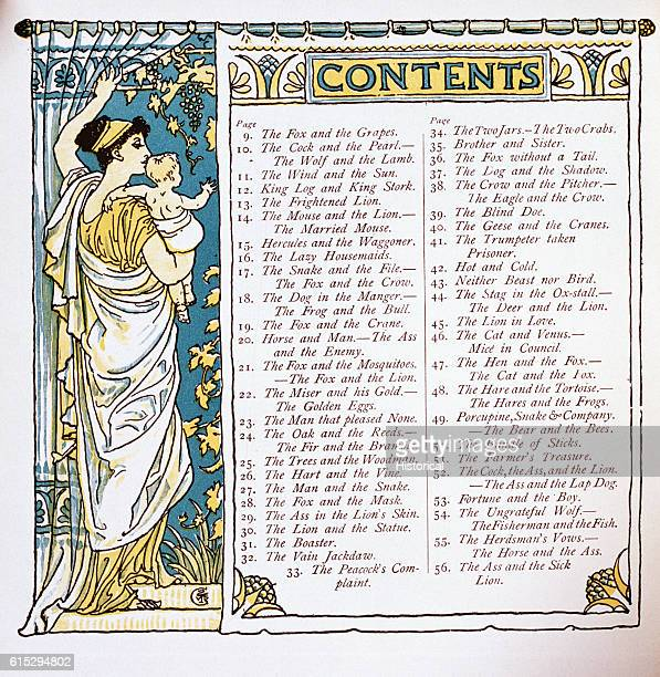 Table of Contents From Walter Crane's Baby's Own Aesop