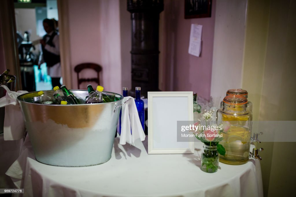 A Table of Drinks at a Wedding Reception in Oslo, Norway Autumn-Time : Stock-Foto