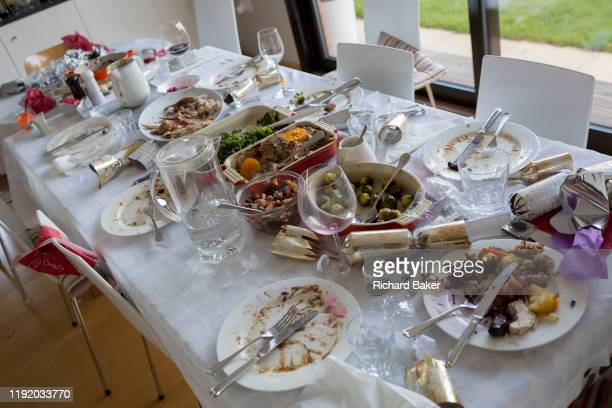Table of food leftovers, the remains of Christmas excess on Christmas Day, on 25th December 2019, in Bristol, England.
