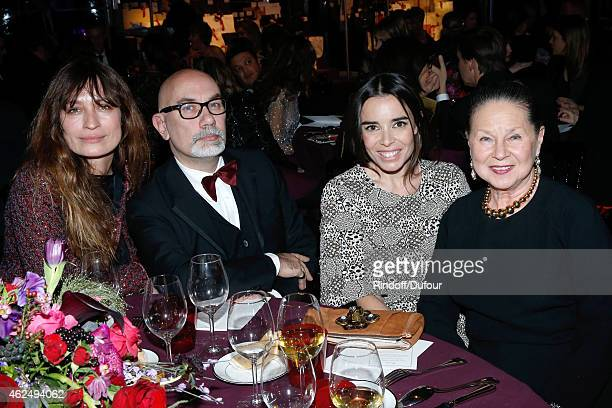 Table of Le Figaro Caroline de Maigret Elodie Bouchez and guests attend the Sidaction Gala Dinner 2015 at Pavillon d'Armenonville on January 29 2015...