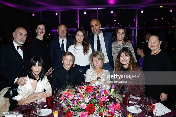 Table of Le Figaro Director of Editorial at Madame Figaro AnneFlorence Schmitt Alex Lutz Caroline de Maigret Elodie Bouchez and Kamel Mennour attend...