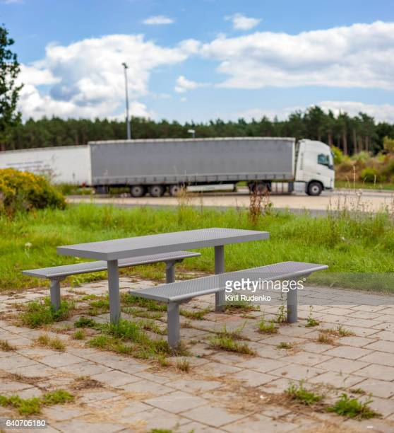 Table on the truck stop in Germany