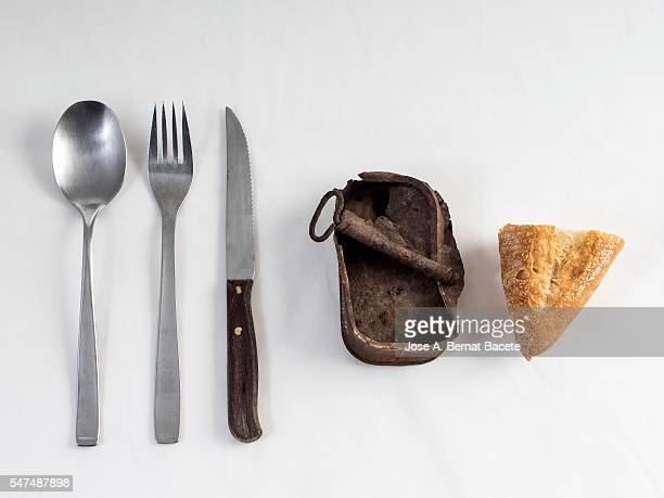 table prepared with tablecloth, cutlery and metallic plate with a lata of empty conserve - colher faqueiro - fotografias e filmes do acervo