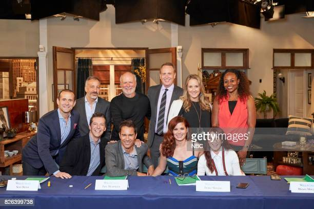 WILL GRACE Table Read 1st Episode Pictured top row Max Mutchnick Executive Producer David Kohan Executive Producer James Burrows Executive...