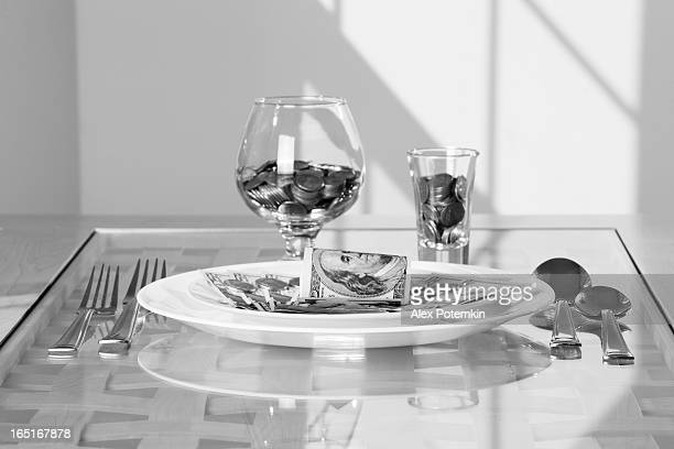 Table served with money's dishes