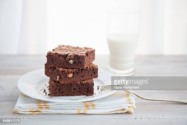 Table served with stack of chocolate brownies