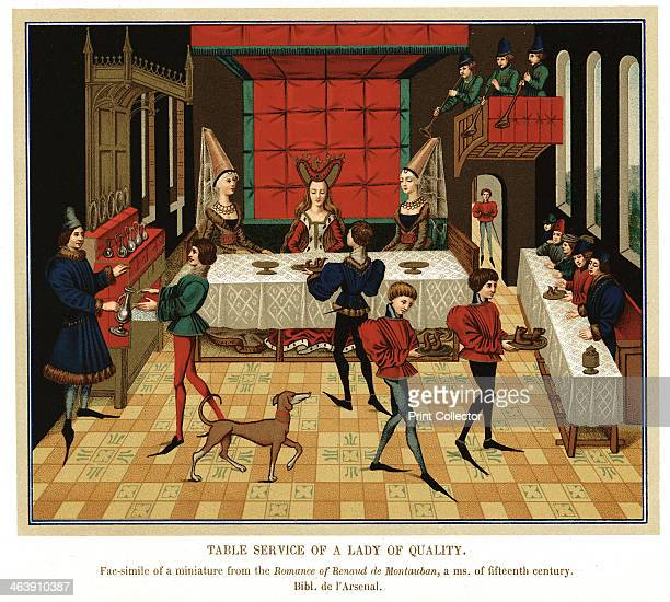 'Table Service of a Lady of Quality' French noblewoman dining with members of her household 15th century The noblewoman is being waited on by...