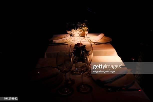 table service ready for dinner - コース料理 ストックフォトと画像