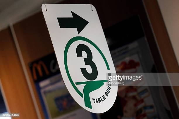 A table service sign hangs inside a McDonald's Corp restaurant in Manchester UK on Monday Aug 10 2015 McDonald's Chief Executive Officer Steve...