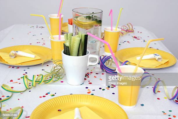 a table set for a birthday party - paper plate stock photos and pictures
