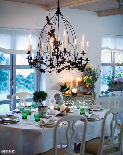 A table set for a dinner.