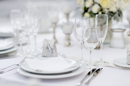 Table set for an event party or wedding reception 540570890