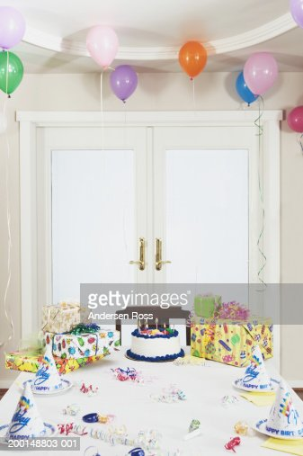 Table Set For Childrens Birthday Party Stock Foto