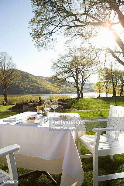 Table set for dinner outdoors