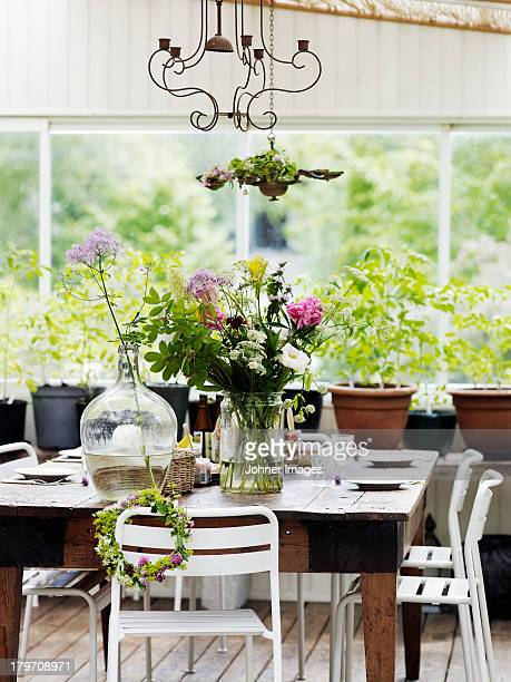 table set for midsummer party - midsummer sweden stock pictures, royalty-free photos & images