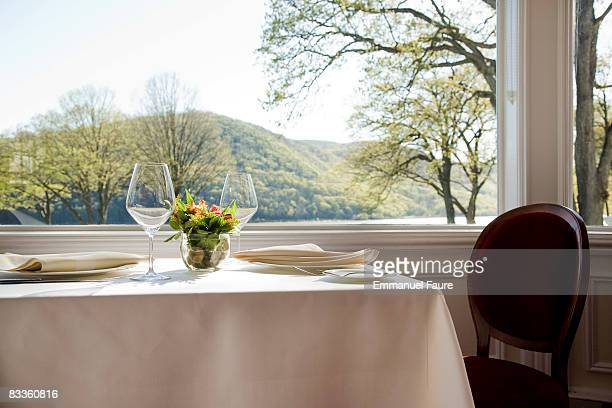 Table set in restaurant
