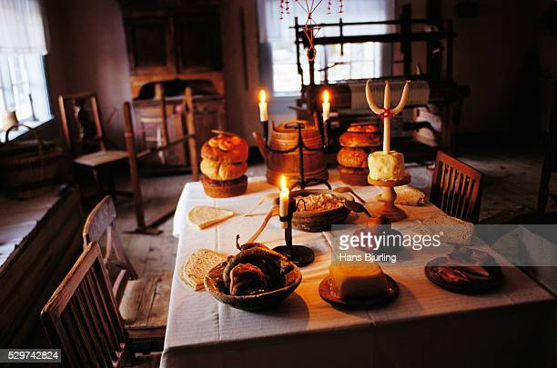 Table set in rustic interior