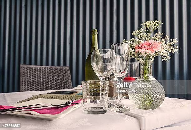 Table set up for two in restaurant