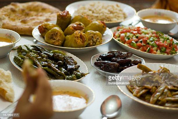 table set with ramadan food in istanbul turkey - ramadan stock pictures, royalty-free photos & images