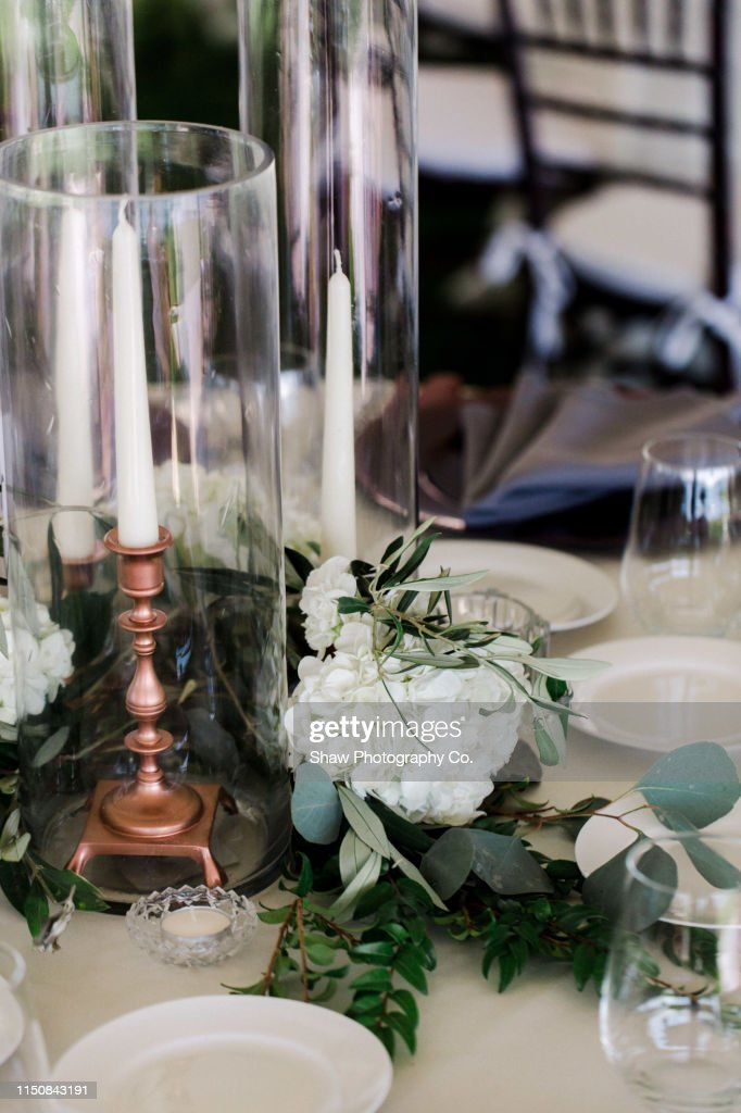 Table Setting At A Tented Wedding Reception With A Mid
