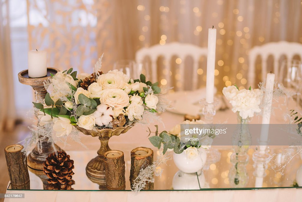 table setting at wedding reception floral composition candles and cones  Stock Photo & Table Setting At Wedding Reception Floral Composition Candles And ...